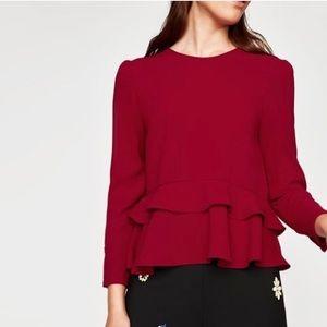 Zara ruffle peplum red top